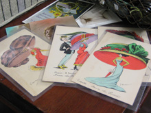French comic hat postcards